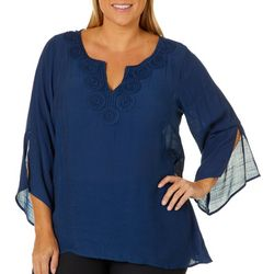 Zac & Rachel Plus Crochet Neck Bell Sleeve Top