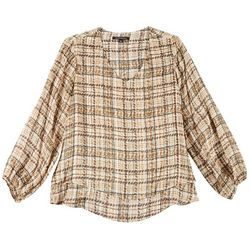 Zac & Rachel Womens Plus Plaid Print V-Neck Top