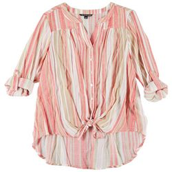 Zac & Rachel Plus Stripe Button Down Tie Front Top