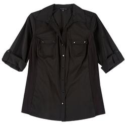 Plus Solid Button Down Roll Tab Top