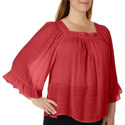 Zac & Rachel Plus Solid Crochet Trim Top
