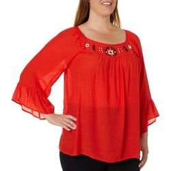 Zac & Rachel Plus Bead Embellished Solid Bell Sleeve Top