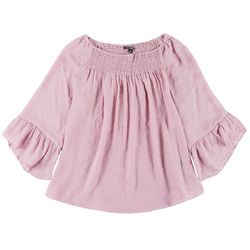 Zac & Rachel Plus Smocked Flowy 3/4 Sleeve Blouse