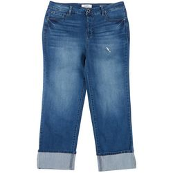 Angels Plus Straight Leg Cropped Roll Cuff Jeans