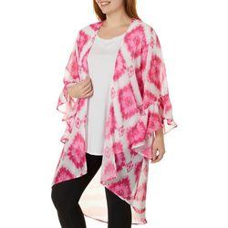 Plus Square Tie Dye Open Front Kimono Style Top