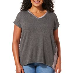 Femme Plus Solid Dolman High-Low V-Neck Top
