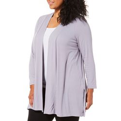 Femme Plus Solid Side Split Open Front Cardigan