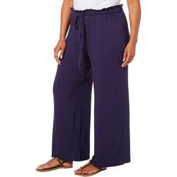 Femme Plus Solid Tie Waist Wide Leg Pants