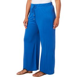 Femme Plus Solid Elastic Waist Stretch Pants