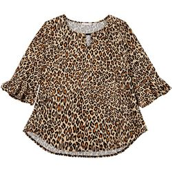 Notations Plus Embellished Cheetah 3/4 Sleeve Top