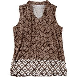 Notations Plus Geometric Tie Neck Sleeveless Top