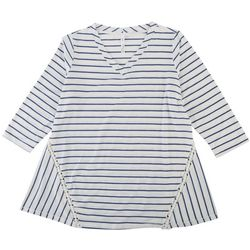 NY Collection Plus Striped Sharkbite Hem Top