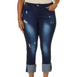 Blue Desire Plus Distressed Wide Cuff Jeans
