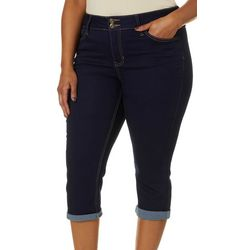 Blue Desire Plus Cuvy Roll Cuff Capris