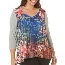 Latitude 10 Plus Butterfly Floral Print Top