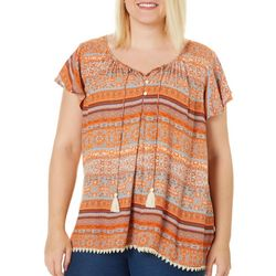 Latitude 10 Plus Mixed Stripe Print Flutter Sleeve Top