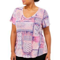 Dept 222 Plus Geometric Batik Print V-Neck T-Shirt