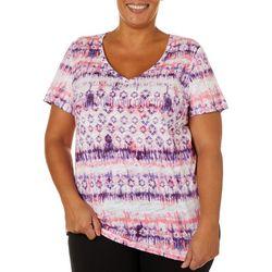 Dept 222 Plus Tie Dye Geo Stripe Print V-Neck T-Shirt
