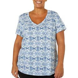 Dept 222 Plus Geo Tile Print V-Neck T-Shirt