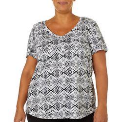 Dept 222 Plus Geo Tile Print V-Neck T-Shirt