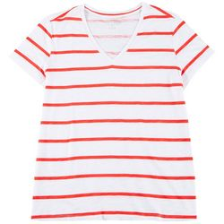 Dept 222 Plus Wide Stripe V-Neck T-Shirt