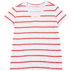 Plus Wide Stripe V-Neck T-Shirt