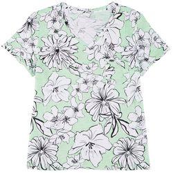 Dept 222 Womens Plus Floral Pocketed V-Neck Shirt