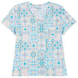Dept 222 Womens Plus Mosaic Pocketed V-Neck Shirt