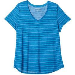 Dept 222 Plus Luxey Stitch Stripe V-Neck T-Shirt