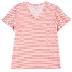 Dept 222 Plus Luxey Striped V-Neck T-Shirt