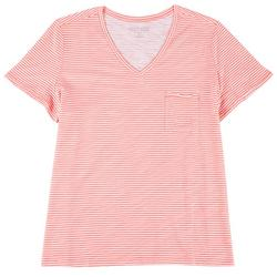 Plus Luxey Striped V-Neck T-Shirt