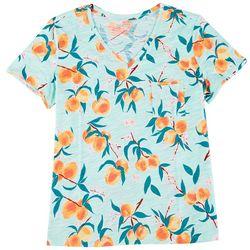 Dept 222 Womens Plus Tropical Pocketed V-Neck Shirt