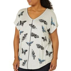 VS Collection Plus Foil Butterfly Print Split Back Top