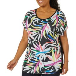 VS Collection Plus Tropical Palm Ruched Side Top