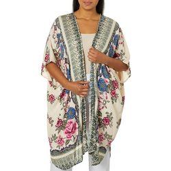 Sky & Sand Plus Geometric Floral Print Kimono