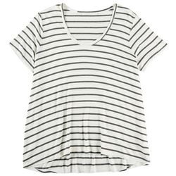 Lush Plus Tri Stripe Flowy Short Sleeve Top