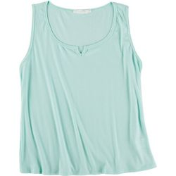 Lush Plus Solid Ribbed Split Neck Tank Top