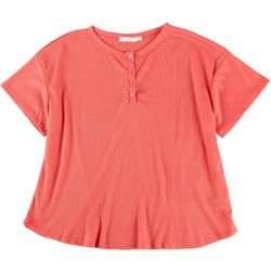 Lush Plus Solid Henley Waffle Knit Top