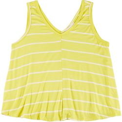 Lush Plus Striped Flowy V-Neck Sleeveless Top