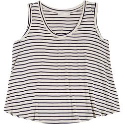 Lush Plus Striped Flowy Scoop Neck Sleeveless Top