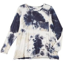 Lush Plus Tie Dye Flowy Pocket Long Sleeve Top