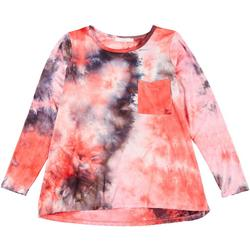 Plus Tie Dye Flowy Pocket Long Sleeve Top