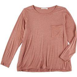 Lush Plus Solid Flowy Pocket Long Sleeve Top