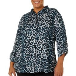 Alexander Jordan Plus Leopard Print Button Down Top