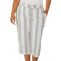 Per Se Plus Striped Relaxed Linen Capris