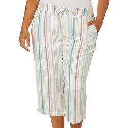 Per Se Plus Multi Striped Linen Wide Leg Capris