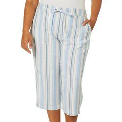 Per Se Plus Striped Linen Pull On Capris