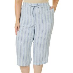 Per Se Plus Vertical Stripe Drawstring Capris