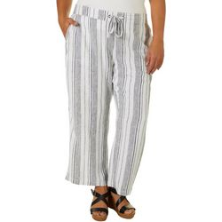 Per Se Plus Stripe Print Linen Pull On Drawstring Pants