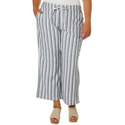 Per Se Plus Vertical Striped Linen Ankle Pants
